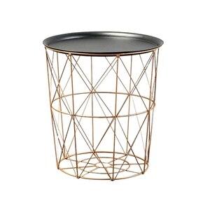 Современные Золотой Круглый для хранения, из металлической проволоки Корзина приставной столик Спальня балкон угловой Чай стол
