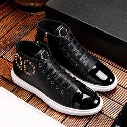 Starbags pp crânio logotipo de metal 2020 novos sapatos rebite punk tendência couro genuíno couro patente esportes sapatos casuais alta superior