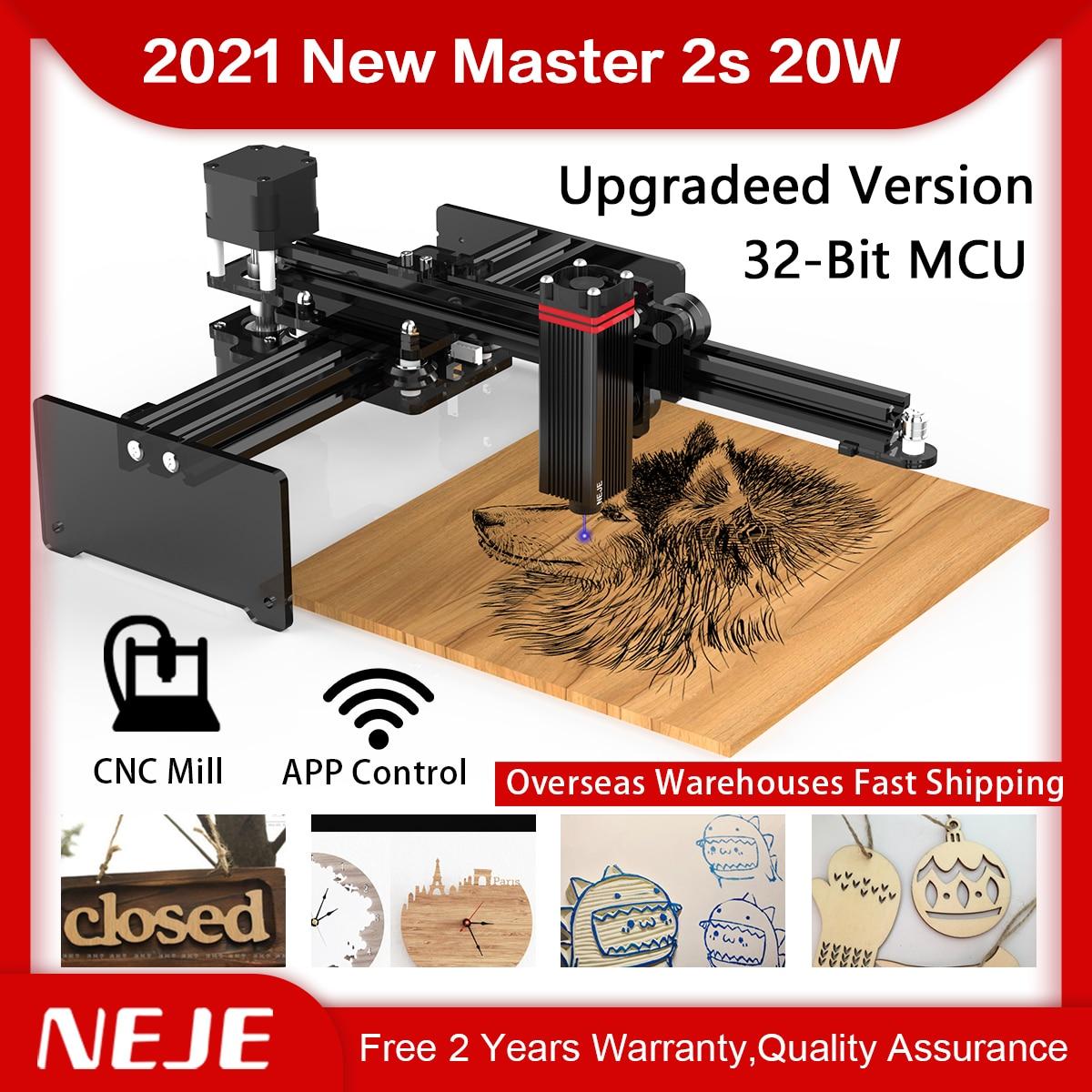 NEJE Master 2S 20W cnc Desktop wireless Laser Engraver Printer with 32Bit Mainboard,Cutter,Wood Router,Engraving,Cutting Machine