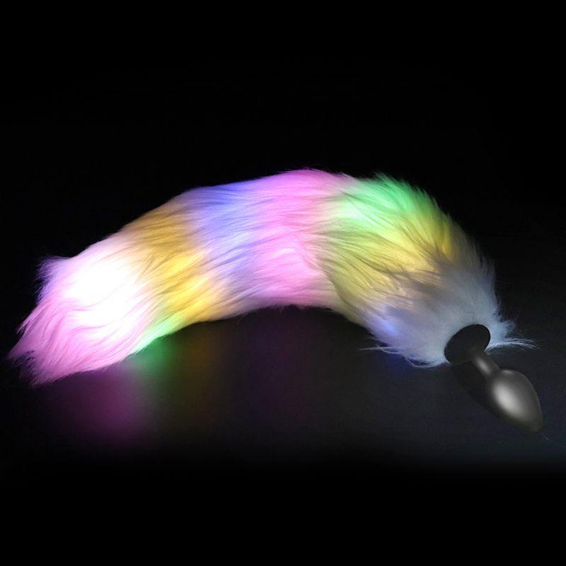Luz LED Anal enchufe trasero de inserción de silicona tapón suave ano juguete adulto del sexo juego Cosplay con de cola de zorro