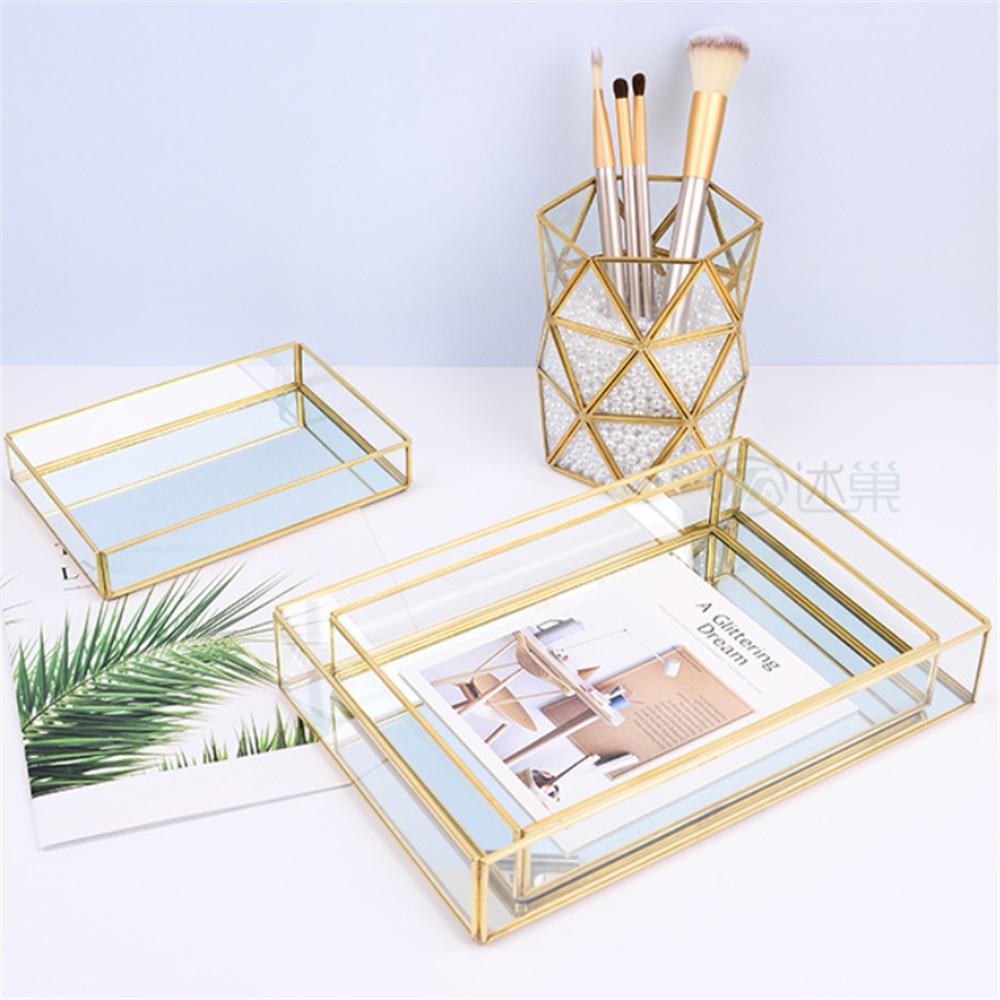 Glass Jewelry Tray Nordic Gold Edge Storage Tray Cosmetic Tray Desktop Gold Rim Storage Case Modern Decoration Makeup Organizer