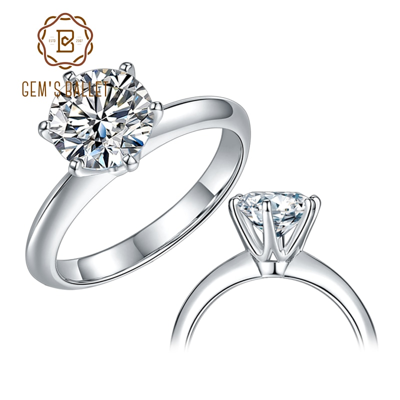 GEM'S BALLET 925 Sterling Silver Moissanite Ring 1ct 2ct 3ct Round Moissanite Diamond Solitaire Engagement Rings For Women