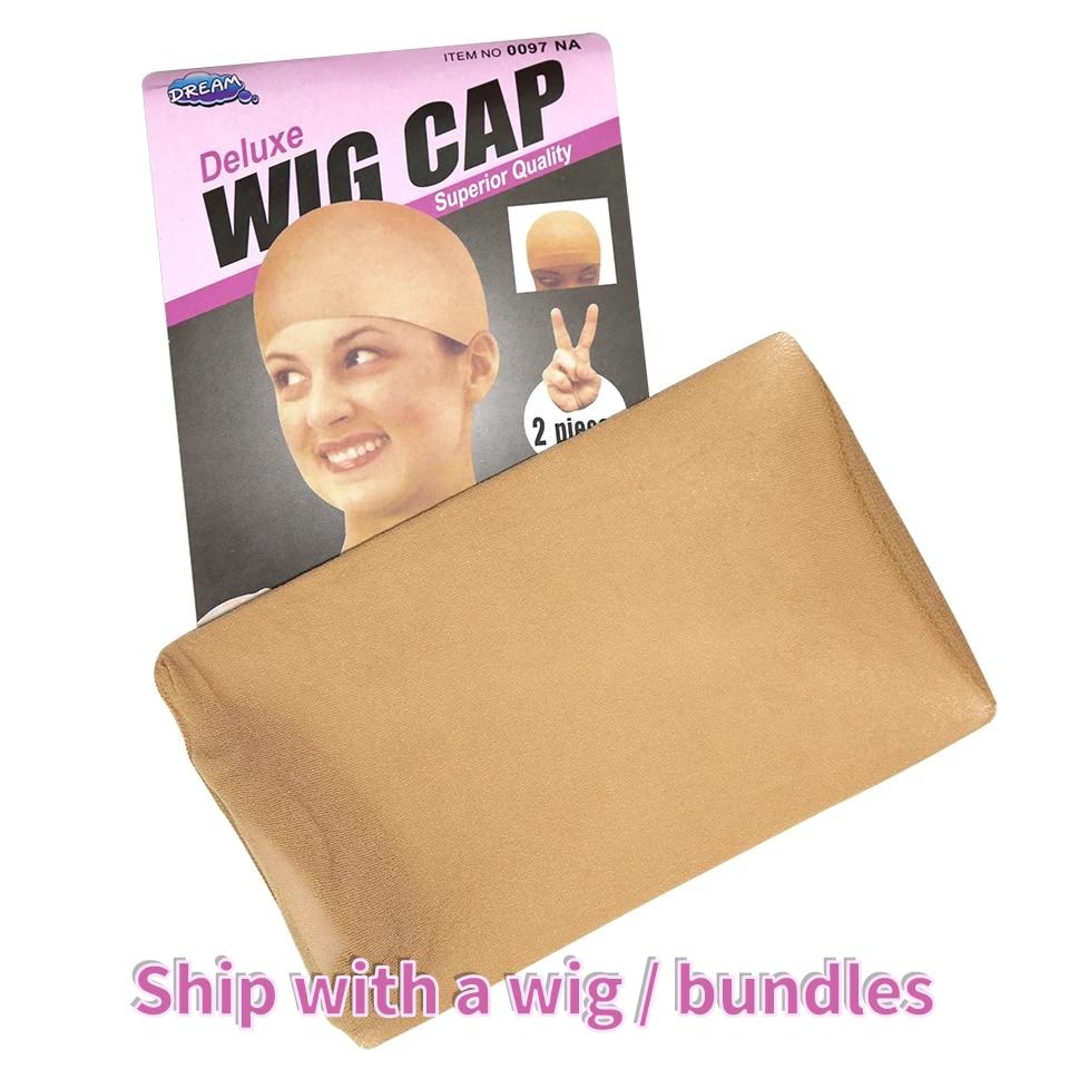 Dollfacehair Wig 2Pcs High Quality Wig Cap Brown Stocking Cap Human Hair Wig Caps Stocking Elastic L