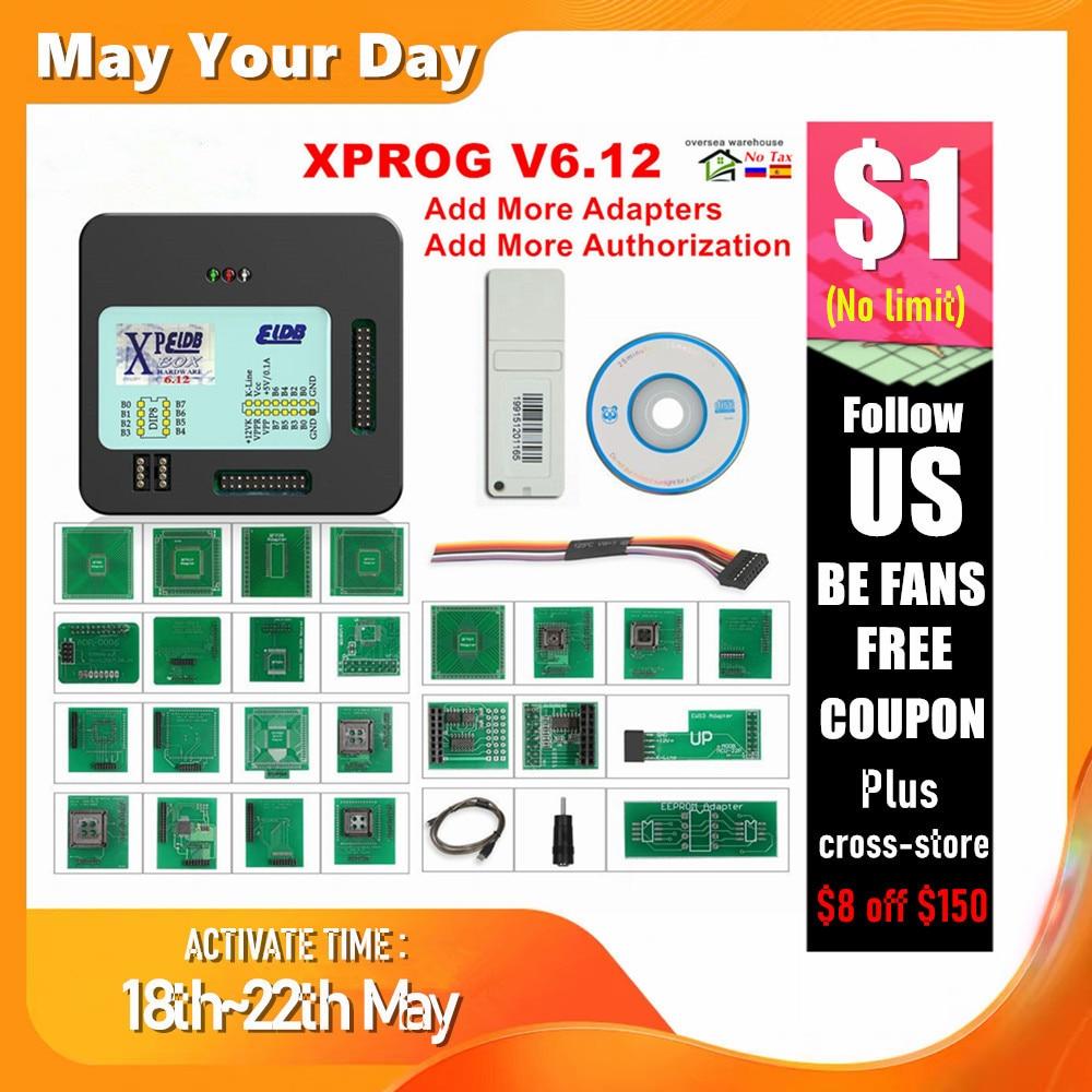XPROG V6.12 Add New Authorization V5.86 V5.55 V5.84 X-PROG M Metal Box XPROG-M ECU Programmer Tool  X Prog M V6.12 Full Adapters