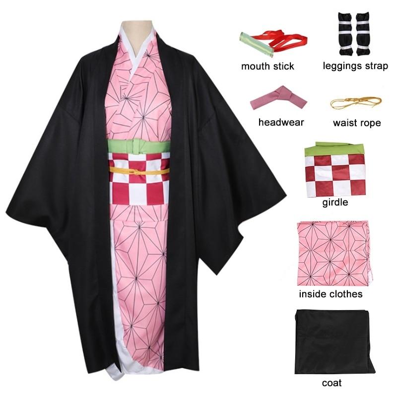 الكبار الاطفال كامادو Nezuko كامل زي شيطان القاتل Kimetsu لا Yaiba تأثيري المرأة ثوب الكيمونو الياباني هالوين عيد الميلاد الملابس