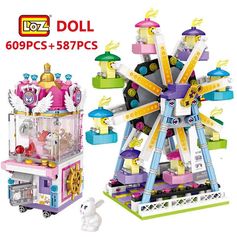 LOZ Mini Blocks Friends Amusement Park Ferris Wheel Carousel Pirate Ship Pirate Ship Building Blocks