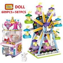 Loz mini blocos amigos parque de diversões roda gigante carrossel navio pirata navio pirata blocos de construção diy tijolos brinquedos para meninas