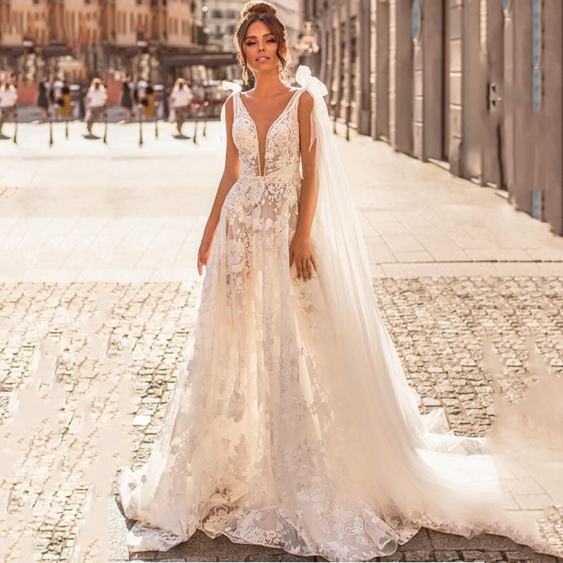 Eightree Princess A Line Wedding Dress Lace Tulle Beach Boho Bride Illusion Backless Appliques Gowns 2020