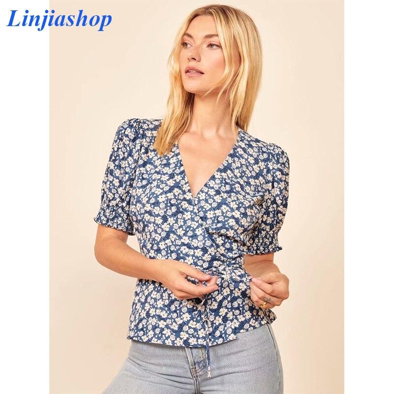 Elegante do vintage outono feminino blusa azul com decote em v blusa femme frança floral impressão curto blusa camisa envoltório faixas dropshipping
