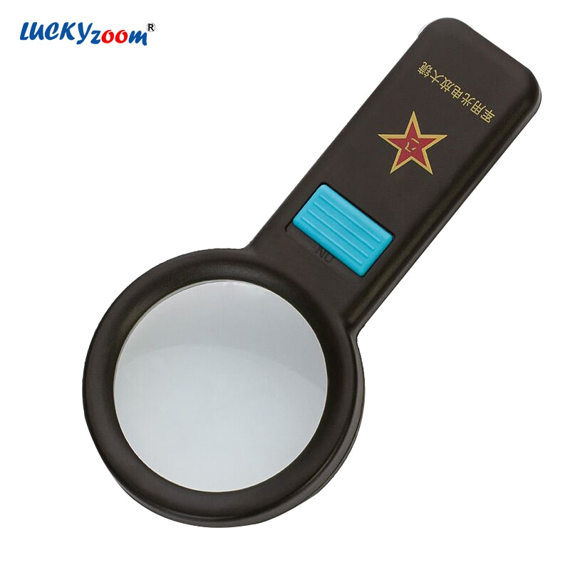 Army Green 10 LED Magnifier Handheld 6X Magnifying Glass Optical Lens Illuminated Reading Magnifier Eldery Gift Jewelry Loupe