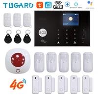 Commutable 11 langues Tuya sans fil securite a la maison 3G   4G WiFi systeme dalarme 433MHz RFID carte bras desarmer APP telecommande