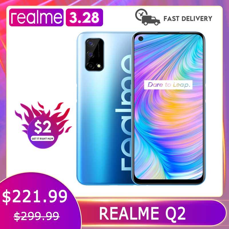 Realme Q2 5G 6 ГБ 128 мобильный телефон Dimensity 800U Octa Core 48MP Камера 6,5 дюйм 120 Гц полноэкранный 5000 мА/ч, 30W Зарядное устройство смартфонов