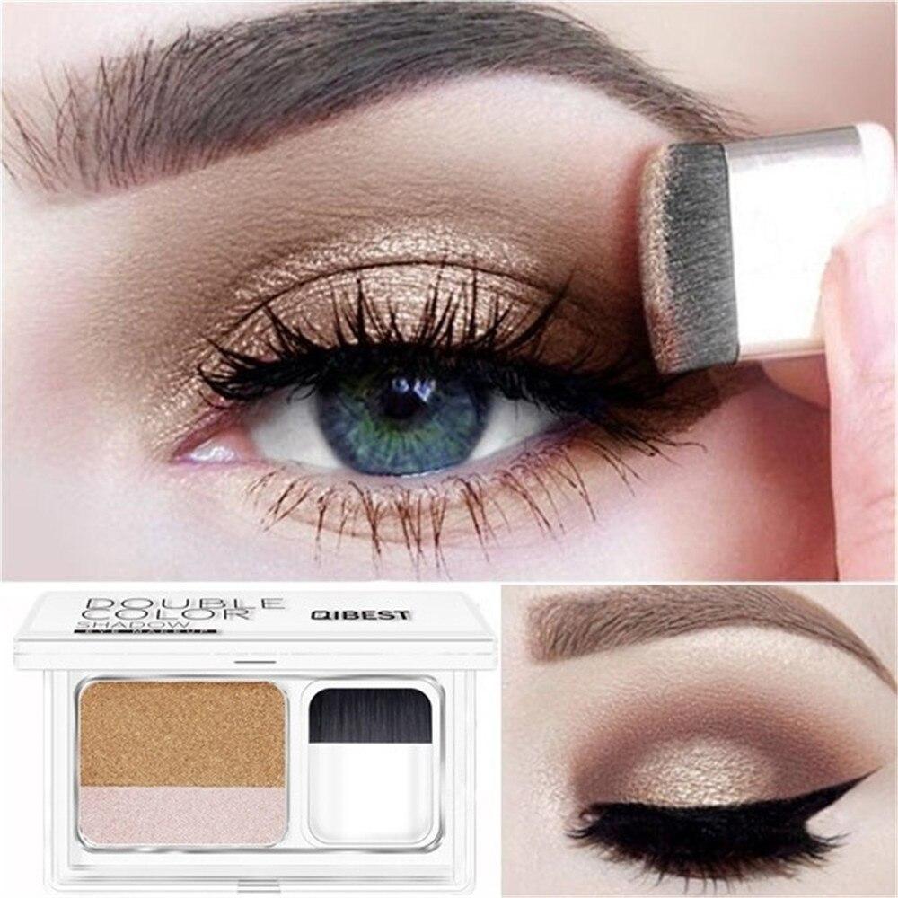 Perezoso doble Color sombra de ojos brillo de diamante sombra de ojos maquillaje impermeable Mineral polvo doble capa brillo sombra de ojos maquillaje