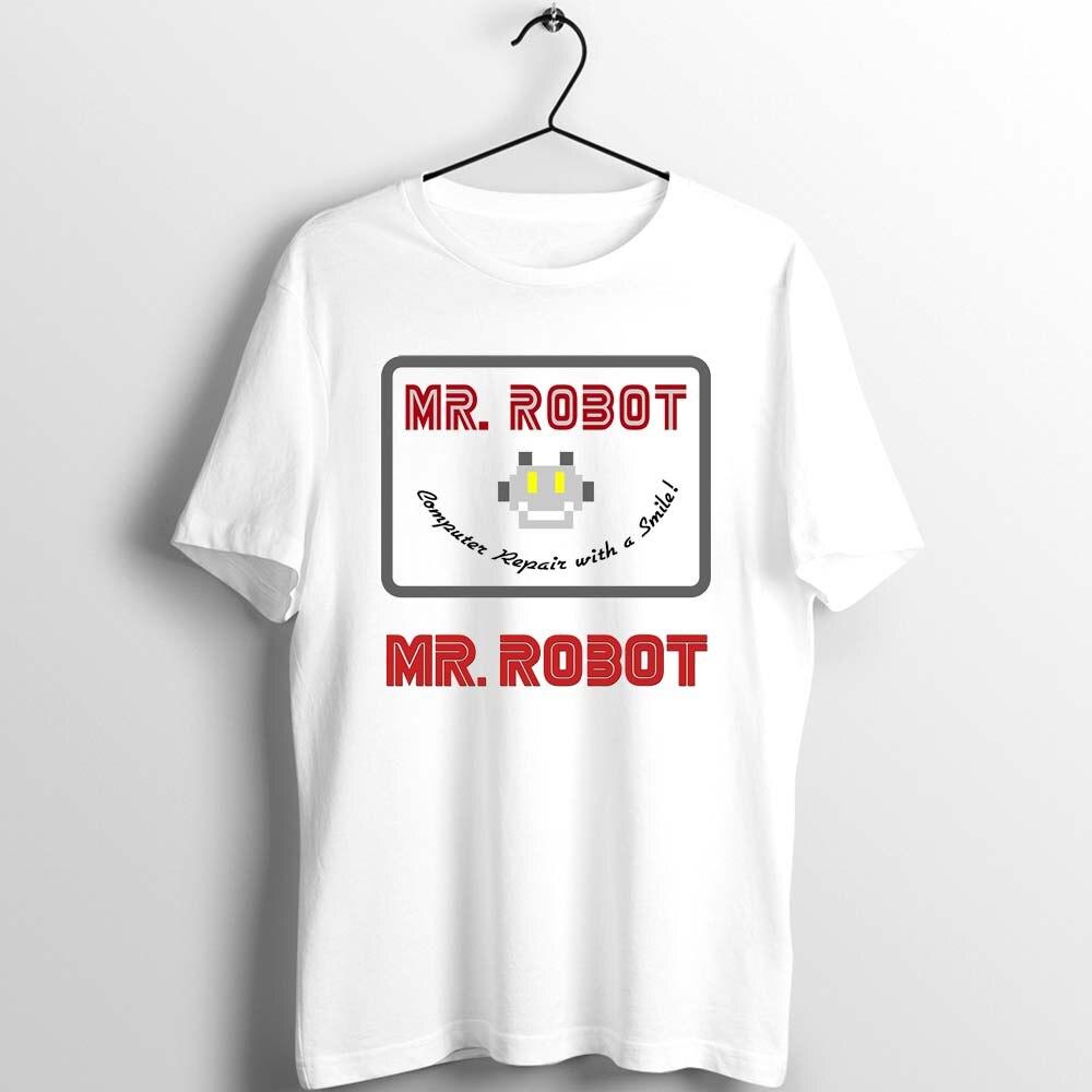 Camiseta Unisex para hombres y mujeres, Mr Robot reparación por ordenador con una sonrisa, servicio al cliente, obra de arte impresa, Camiseta holgada básica harajuku