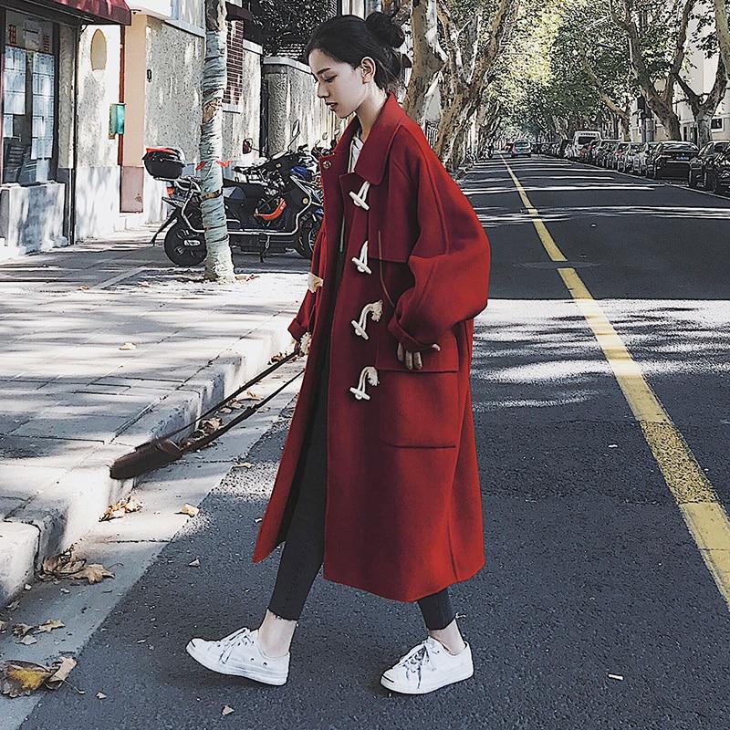 2020 novo outono inverno feminino chegada moda cashmere casaco de lã outerwear feminino longo espessamento quente solto misturas q311