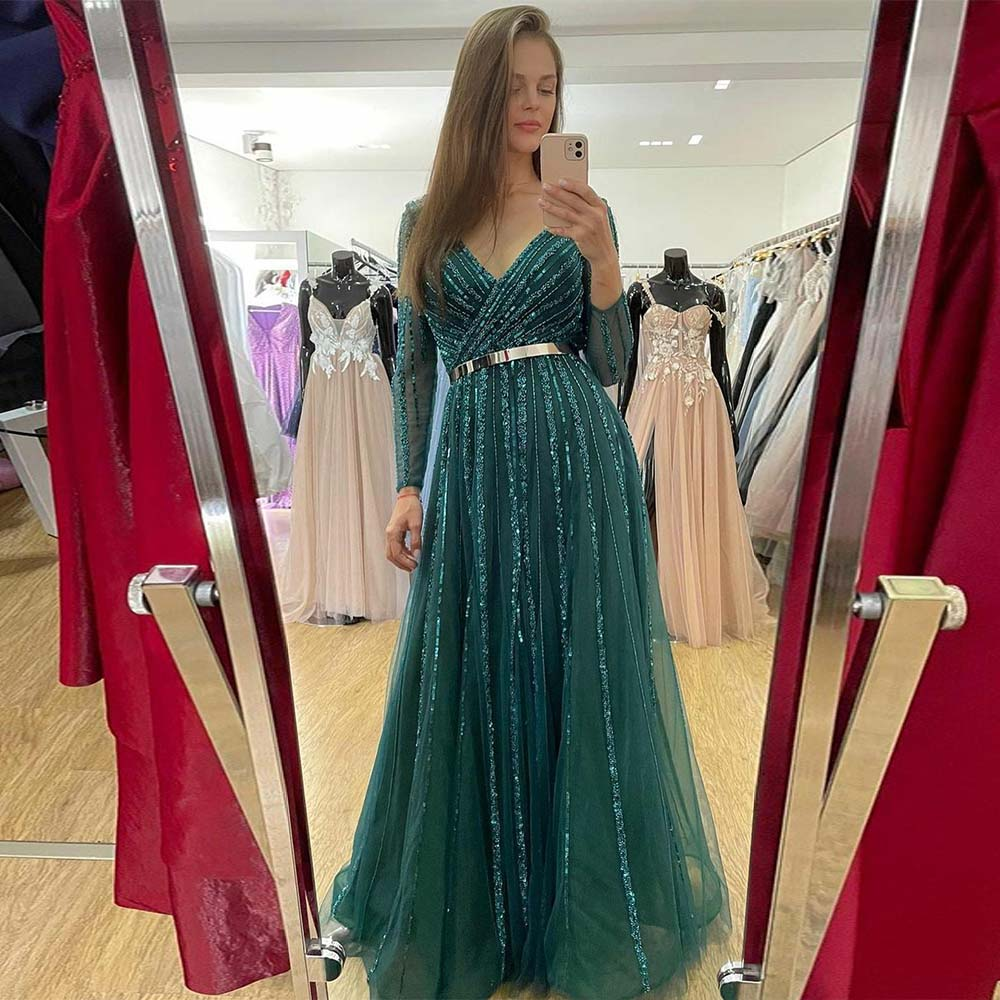 فستان سهرة أنيق باللون الزمردي والأخضر 2021 ، أكمام طويلة ، ياقة على شكل V ، تول ، ترتر ، مطرز ، فساتين حفلات رسمية للنساء ، مقاس مخصص