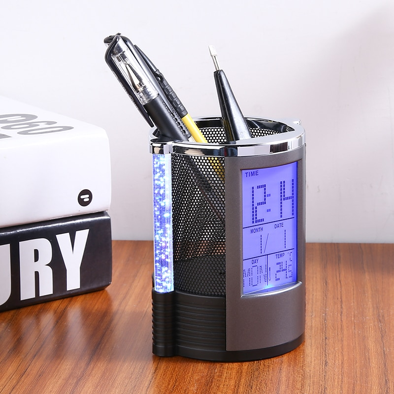 Digital LCD Desk Alarm Clock Pen Holder Mesh Pen Pencil Holder With LED Light Pens Rulers Office Desk Organizer new abs multi functions digital desk pen pencil holder display lcd alarm clock thermometer
