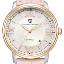 36mm Pagani design quartz watch automatic date Pink elegant strap women  Fashion casual watch