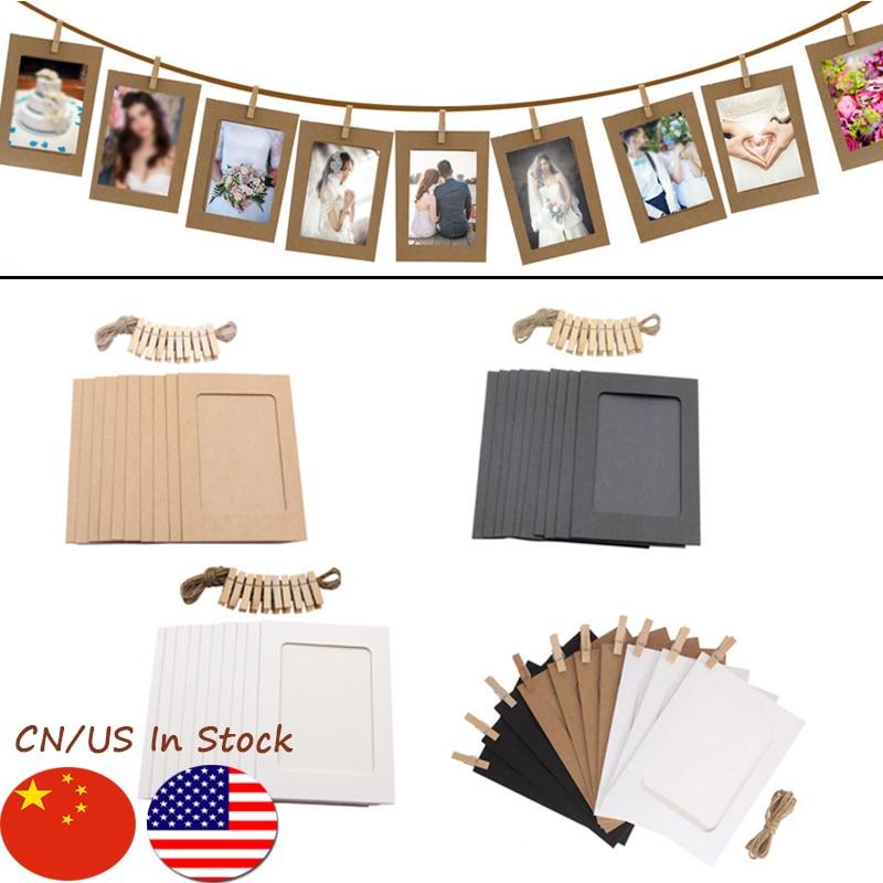 10PCS DIY תמונה מסגרת עץ קליפ נייר תמונה מחזיק קיר קישוט לחתונה 2019 מסיבת סיום תמונה לתא Props