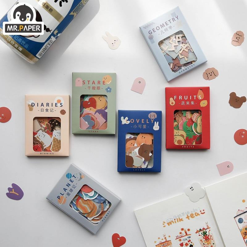 Mr.Paper 100 шт./лот, милые мини-наклейки из бумаги с покрытием животных, минималистичные игрушки, чемодан, стильная заметка