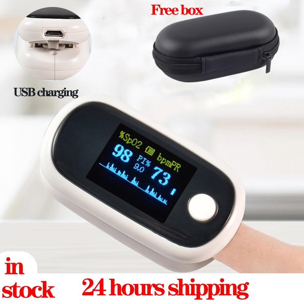 Oxímetro De pulso para Dedo OLED, Digital con carga USB oxímetro, Monitor De saturación De oxígeno, batería De litio en sangre