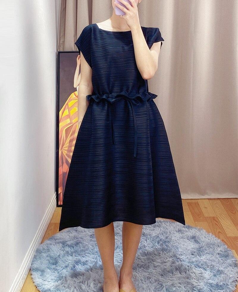 Verano de 2020 serie PP suelto delgado vestido de las mujeres Miyak de moda de fold de talla grande slim de mediados de-longitud vestido