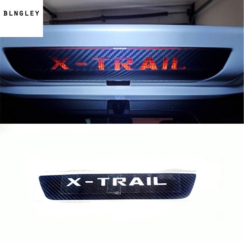 Pegatinas de fibra de carbono para coche, de montaje alto luz de freno, luces de freno para 2014-2017 Nissan X-TRAIL, accesorios para coche 1 unidad
