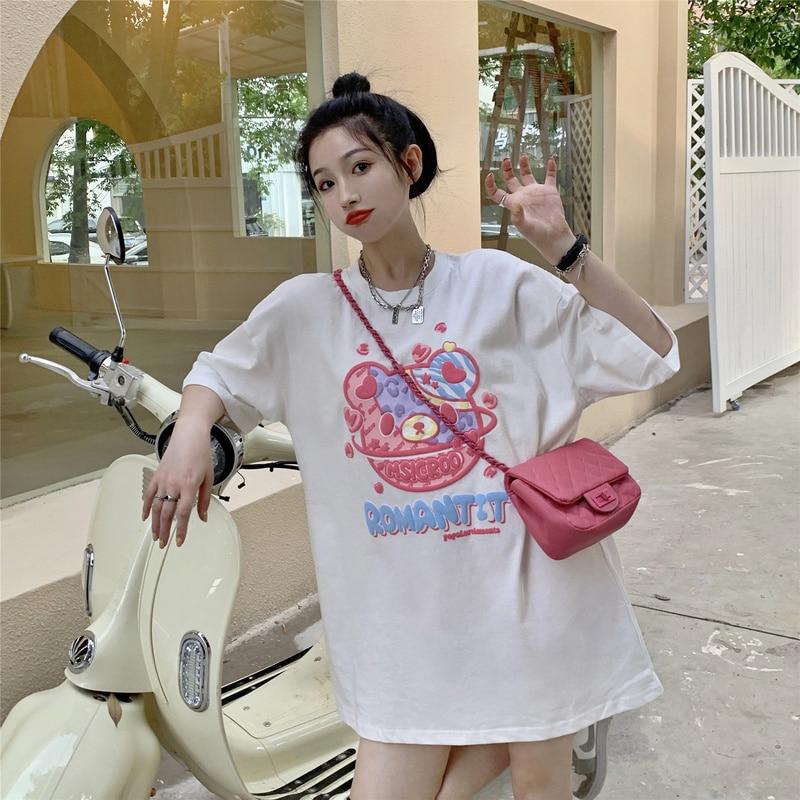 Cost-Effective Korean Style Loose Planet Bear Foam T Shirt Tshirt Harajuku Plus Size Summer Top Clot
