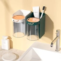 wall mounted magnetic toothbrush cup holder bathroom inverted drainage toothpaste toothbrush holder bathroom accessories
