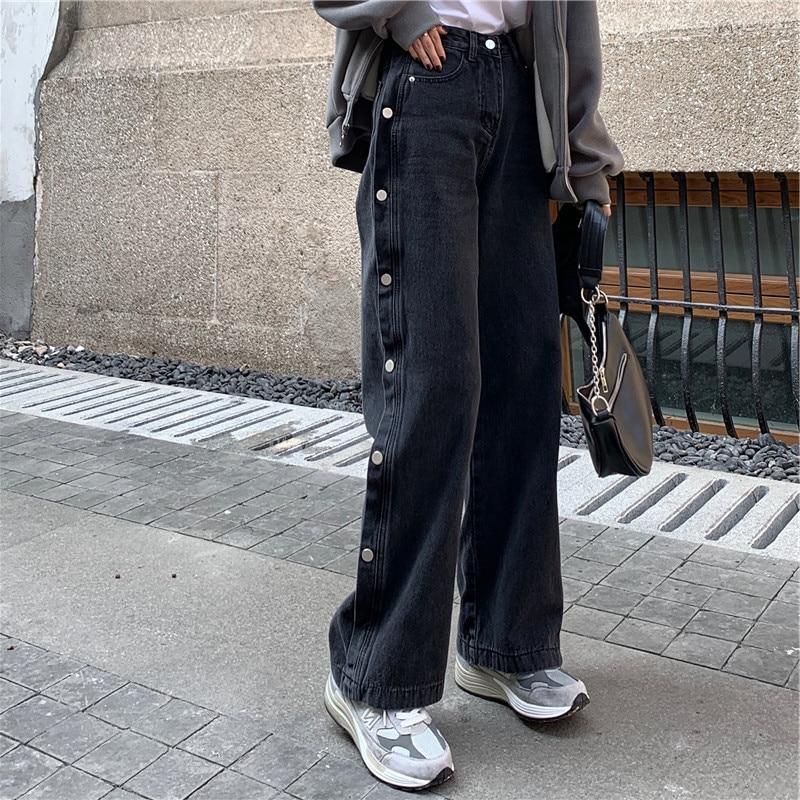 Pantalones vaqueros de diseño para mujer, pantalón de cintura alta, adelgazante, Ulzzang,...