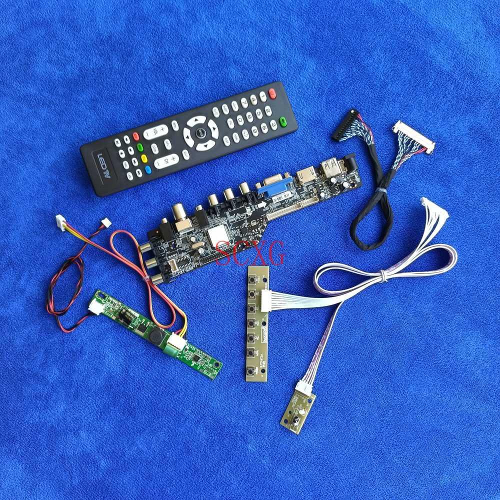 لوحة تحكم عرض 30Pin-LVDS LED LCD مجموعة اصنعها بنفسك إشارة رقمية 1366*768 تناسب M185B3/M185B5/M185BGE AV VGA USB HDMI-متوافق