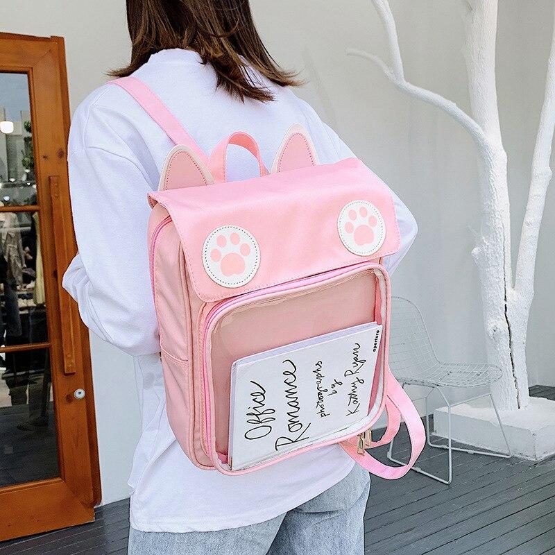 Kawaii القط الأذن أنيمي حقيبة ظهر الطالب المدرسية الكورية فتاة شابة Harajuku Ulzzang دمى شفافة واضحة Itabag حقيبة