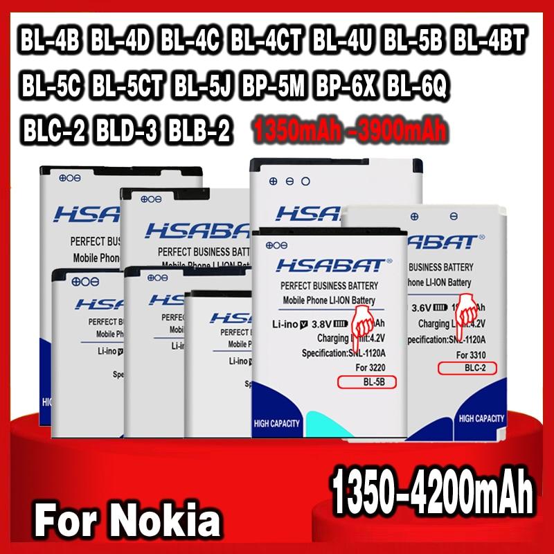 HSABAT batería para Nokia BL-4B BL-4D BL-4C BL-4CT BL-4U BL-5B BL-5BT BL-5C BL-5CT BL-5J BP-5M BP-6X BL-6Q BLC-2 BLD-3 BLB-2
