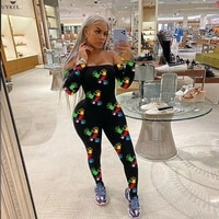 winter sexy jumpsuit women rompers outfits activewear sporting fitness off shoulder long sleeve bodycon print playsuits jumpsuit