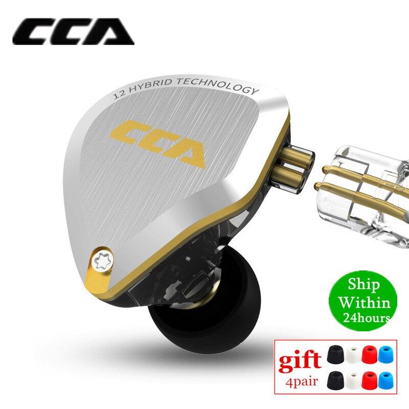 New CCA C12 5BA+1DD Hybrid Metal Headset HIFI Bass Earbuds In Ear Monitor Headphones Noise Cancelling Earphones C10 C16 ZSX A10