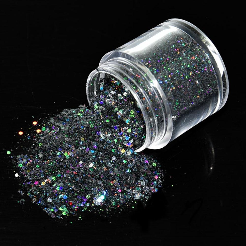 1 Bottle 0.2-0.8mm Sequins Nail Glitter Powder Laser Holographic DIY Super thinShiny Manicure Nail Art Powder Dust Decor RF/OP