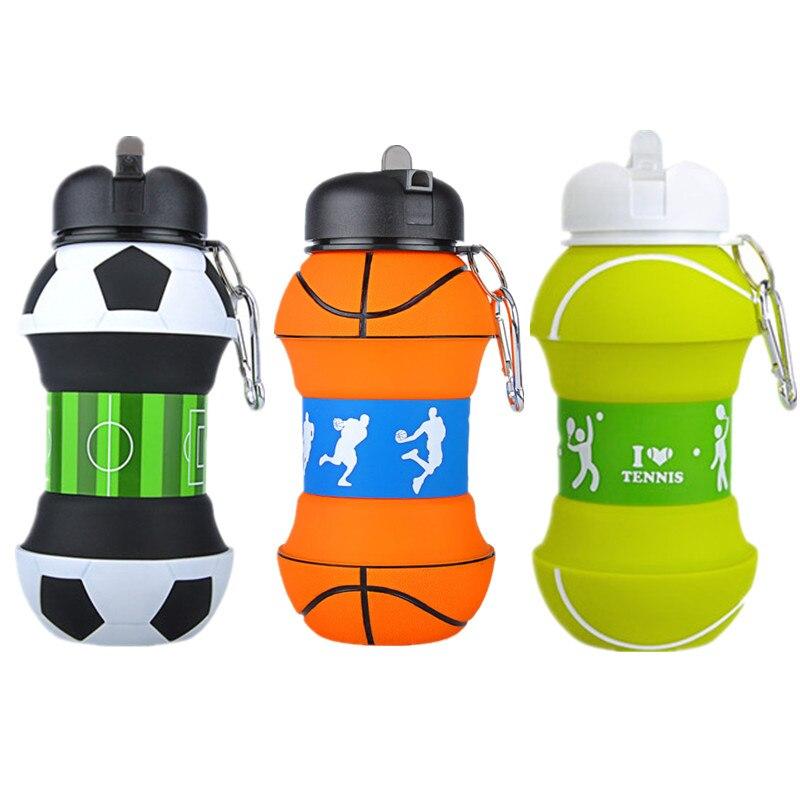 Garrafa de Água Escola para Crianças Adulto do Miúdo Plástico Portátil Dobrável Futebol 1 – 2 Pces Eco-friendly Camptravel Piquenique 550 ml 2021