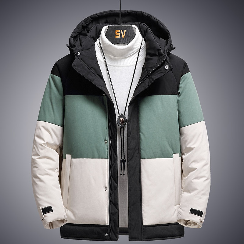 2021 brand clothing men winter parka long section 2 colors new warm thicken jacket outwear windproof coat hooded plus size s 4xl Thicken Men's Down Jacket Patchwork Hooded Warm Parka Men Casual Waterproof Windproof Winter Coat Male Windbreaker Coats 3XL 4XL