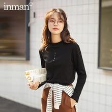 INMAN hiver polyvalent coton extensible demi-col haut couleur Pure sous-couche femmes T-shirt