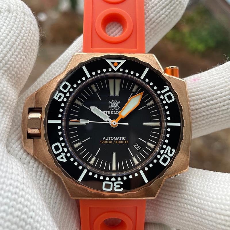 ساعة يد فاخرة من steelالغوص غواص برونزية ثنائية الاتجاه ذات حافة دوارة من الياقوت رجالي ساعات آلية أوتوماتيكية Lume 2021