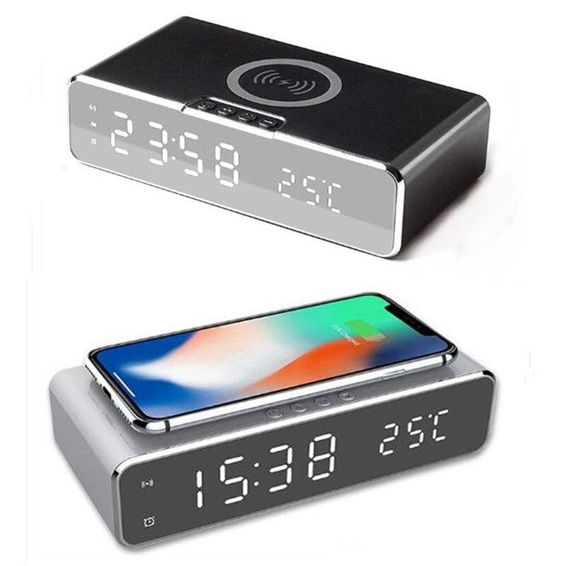 Reloj despertador Digital con cargador inalámbrico rápido para teléfono, dispositivo electrónico con...