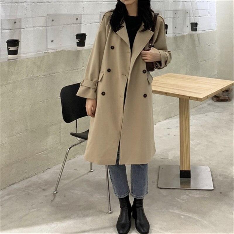 Windbreaker Women's Spring and Autumn 2021 New Korean Version Versatile Loose British Style Long Sma