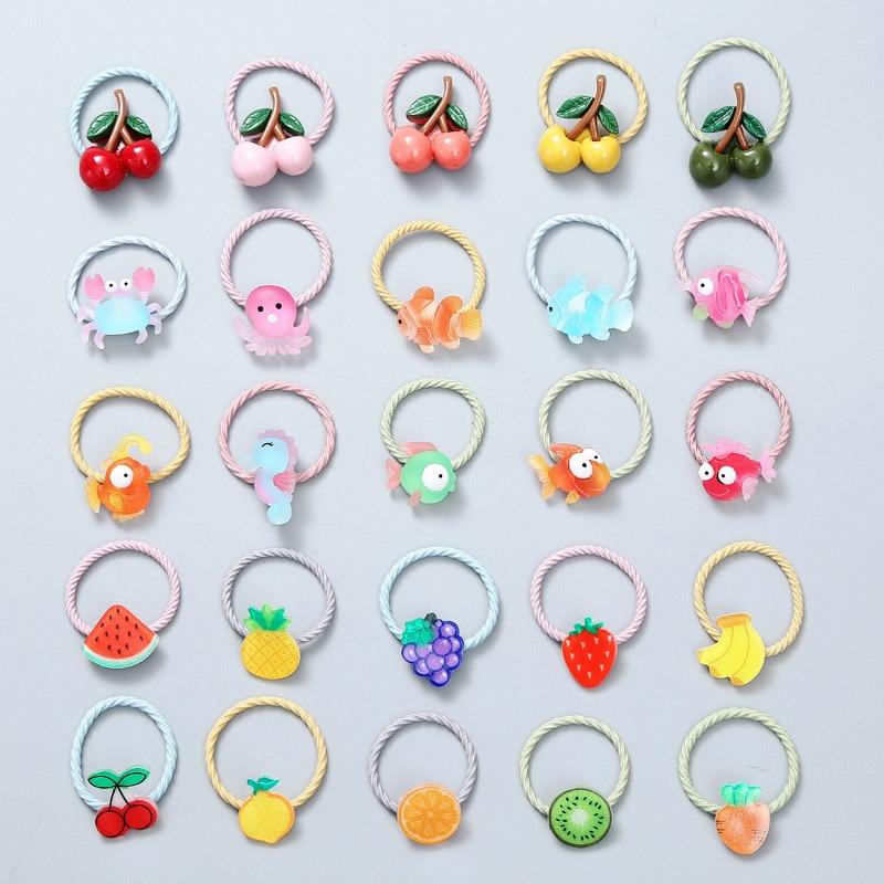 Cute Cartoon zwierząt owoce dzieci Scrunchie elastyczne gumki do włosów Bind dzieci dziewczyny kucyk Holder gumka do włosów liny akcesoria