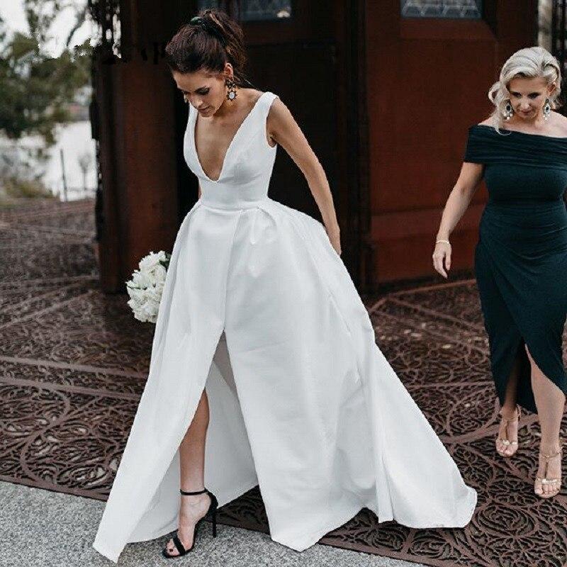 فستان زفاف مثير برقبة على شكل v مع شق جانبي ، وفستان سهرة ، وحفلات ، وحفلات ، وأربطة