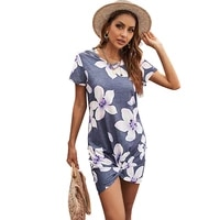 2021 chiffon dress short sleeve casual knotted beach dress ladies party dress vestidos floral printing womens clothes dresses