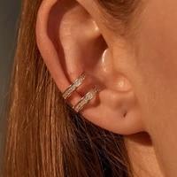 vsnow bling bling double cubic zircon clip earrings for women temperament adjustable open earings wedding jewelry accessories