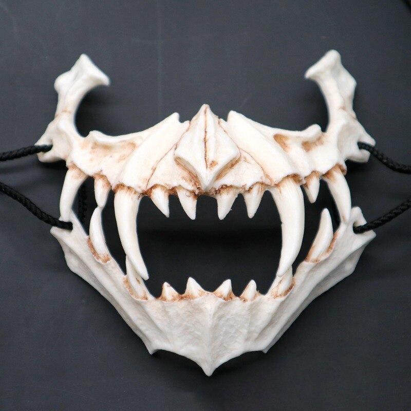 B máscara de medio Animal dientes largos demonio samurái máscara de hueso blanco Tengu dragón Yaksa Tigre máscara de resina Cosplay *