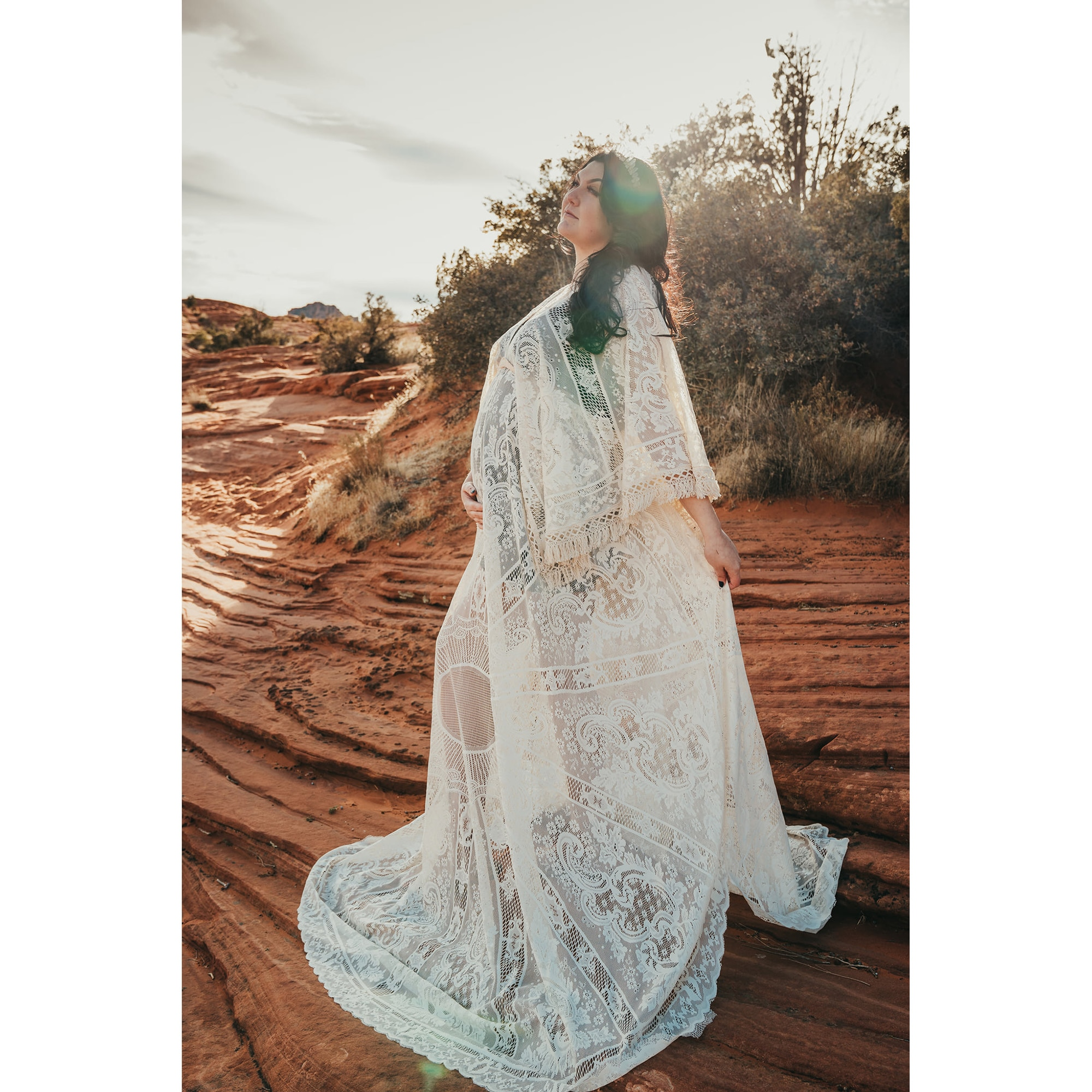 Photo Shoot Costume Boho Maxi Long Bell Sleeves Maternity Dress Pregnancy Gown Lace Robe for Woman Photography Props Baby Shower enlarge