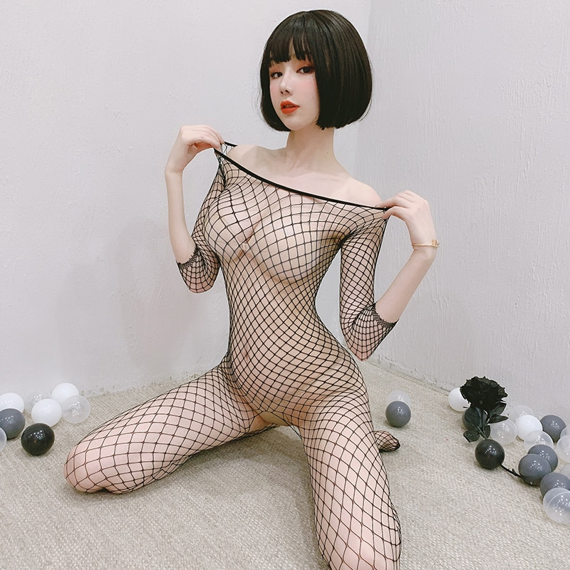Fishnet Bodysuits Catsuit Womens Transparent Open Crotch Sex Clothes See Through Body Stockings Mesh Mesh Hot Erotic Lingerie