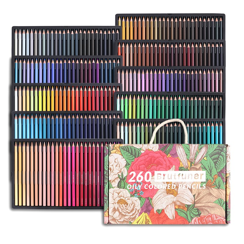 Фото - Brutfuner 48/72/120/160/180/260Colors Wooden Colored Pencils Oil  Coloured Colored Pencil Set For School Drawing Art Supplies stabilo wooden colored pencils 2606803 colored pencil for boys and girls children sets